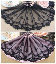 """8""""*1Y Embroidered Floral Tulle Lace Trim~Pure Black~Silent Beauty~Elegant~"""