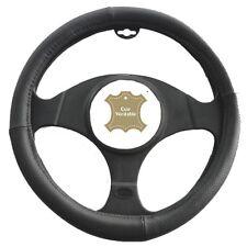 Couvre Volant pour Peugeot 206 206+ ø 37-39 cm en Cuir Véritable Noir - 281