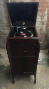 Vintage Apollo Gramophone Record Player Wooden Cabinet Horn Apollophonic B Head