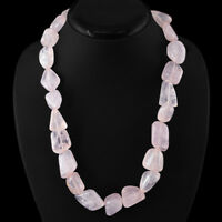 BEST QUALITY 815.00 CTS NATURAL RICH PINK ROSE QUARTZ UNTREATED BEADS NECKLACE