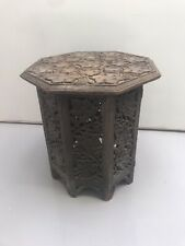 Antique Hand Carved Octagon Topped Side Table - Height 42cm