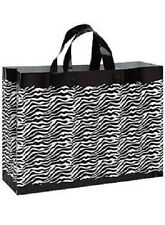 """Plastic Bags 25 Shopping Zebra Gift Frosty Merchandise Frosted 16"""" x 6"""" x 12"""""""