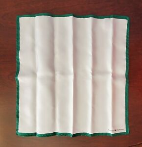 TOMMY HILFIGER Mens Silk Pocket Square Handkerchief White/Green Border FREE SHIP
