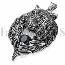 Vintage Mens Stainless Steel Black Wolf Head Wing Ziconia Pendant Necklace Chain