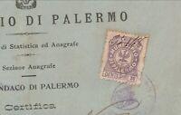 Marca amministrativa Comune di Palermo - Su certificato Comunale - 1927