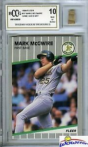 1989 Fleer #17 Mark McGwire Hidden Treasures+GAME USED BAT BECKETT 10 MINT!