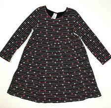 Gymboree Girls 6 Black Pink Hearts Striped Knit Dress Cotton Tres Chic