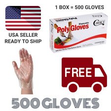 500 Disposable Poly Gloves Textured Latex Free Non-Sterile Size Large