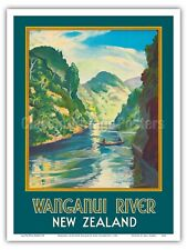 Wanganui River New Zealand - John Holmwood 1930 Vintage Travel Poster Print