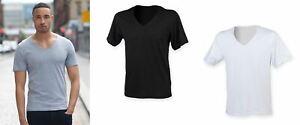 Men's Wide V-Neck Raw Edge Short Sleeve T-Shirt Top SF223