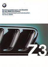 BMW Z3 ROADSTER Cabrio Sonderausstattungen Zubehör Parts Brochure Prospekt 1999