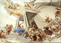 Religion Motiv-Postkarte Abteikirche NERESHEIM Austreibung der Händer Fresko