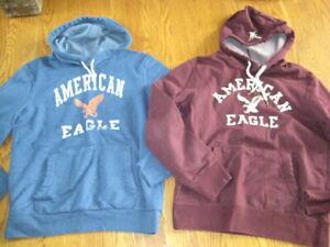 American Eagle AEO Men Black Burgundy Hoodie Sweatshirt Medium LOT PERFECT