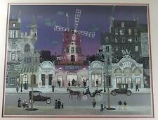 """Michel DELACROIX Paris """"Front le Moulin Rouge"""" Lithograph Print Framed"""