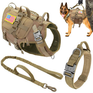 Tactical Dog Harness and Collar Lead set Military Molle Training Vest + 3Pouches