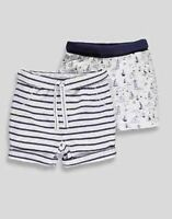 NEW BABY BOYS TINY BABY - 12M 2 PACK BLUE SUMMER 100% COTTON SHORTS