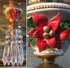 1 Bisque Porcelain Red Poinsettia Brass tole chandelier Swag Vintage lamp