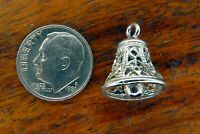 Vintage sterling silver CHRISTMAS FILIGREE CHURCH BELL MOVABLE CLAPPER charm