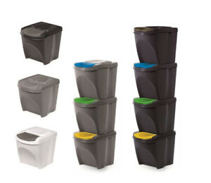 Set Grey/Black/White 20 Litre Large Stackable Recycling Sorting Plastic Bins Lid