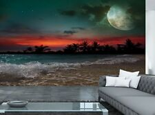 Moon, Ocean and Palm Trees  Photo Wallpaper Wall Mural DECOR Paper Poster