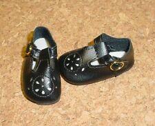 "DOLL Shoes, 50mm BLACK t-Straps fit P90 Toni. 14"" Betsy, Hopscotch Hill"
