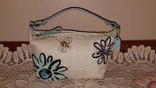 Coach Mini Sig. C Bee & Floral Jacquard Top-Handle Baguette #M0669-F40543- White