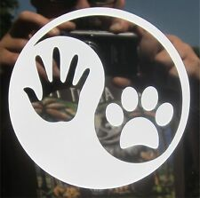 "1-4"" Dog Paw Print YinYang White Decal Sticker Canine K-9 Mans Best Friend 2103"