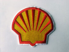 MOTORSPORTS RACING TYRE SEW ON / IRON ON PATCH:- SHELL (g) SUN CLAM WHITE TRIM