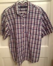 American Eagle AEO Plaid Rugged Poplin Buttoned Short Sleeve Shirt Large L