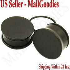 "0941 Black Acrylic Single Flare Ear Plugs 3/4"" Inch 20mm MallGoodies One 1 Pair"