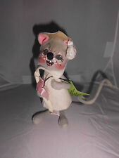 "RARE 1965 Annalee 7"" Smiling Female Graduate Mouse With Tags Great Condition"