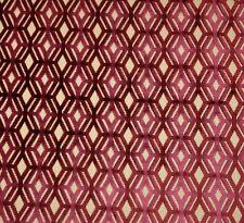 "CLARENCE HOUSE MILO RED GEOMETRIC DIAMOND VELVET FURNITURE FABRIC 3.2 YARDS 51""W"