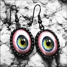 Handmade Taxidermy Eyeball Earrings Blue Human Eyes Halloween Horror Earrings