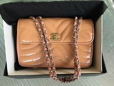 CHANEL Apricot Quilted Patent Leather Flap Bag #8672439 DAMAGED