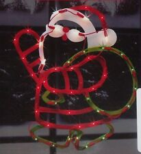 CHRISTMAS OUTDOOR LIGHTED SANTA CLAUS FIGURE SIGN WINDOW YARD LIGHT DECORATION