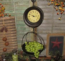 Primitive Antique Vtg Style General Store Hanging Produce Scale Clock XMAS GIFT