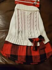 Imagin8 S Small Christmas Dog Costume Red Black Plaid Ivory Cable Sweater Dress