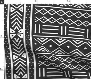 Large Charcoal African Mudcloth Tribal Print Spoonflower Fabric by the Yard