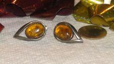 & Amber Earrings Pierced Ears Fabulous Modernist Teardrop Shape Sterling Silver
