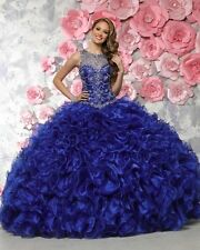 Beading Blue Quinceanera Dress Ball Gown Prom Party Pageant Color Wedding Dress
