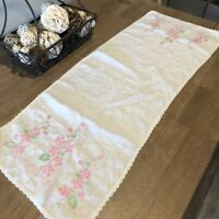 "Vintage Hand Embroidered Linen Runner Pink Flowers on White 15""x40"" Crochet Trim"