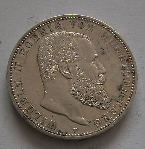 WURTTEMBERG-SOLID SILVER  5 MARKS 1913 F -KM # 632