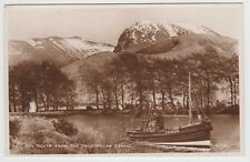 Ben Nevis with Puffer IH010 on Caledonian Canal in 1951 Real Photo PPC, VG Unusd