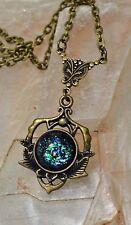 Black Dragon Scale Fire Glass Opal Butterfly Brass Victorian Pendant Necklace
