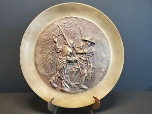 Antique/Vintage Asian Repousse Brass Fisherman Fishing Wall Hanging Plate