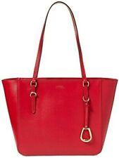 Ralph Lauren Bennington Large Tote Leather SHOPPER Red Shoulder Bag Top Zip