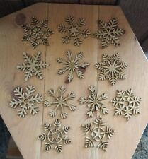 Snowflakes - unfinished wood cutouts (12 pieces)