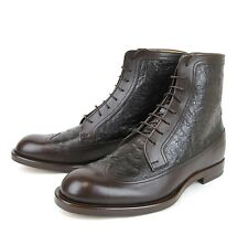 $1860 New Authentic Gucci Mens Leather/Ostrich Lace-up Boot, 322508 2140
