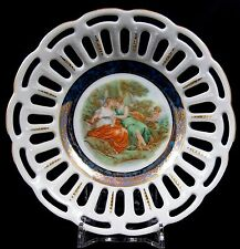 Lovely Dresden China Pierced Work Dish Cupid Lovers Scene