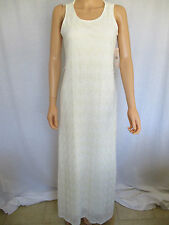 SHARAGANO Dress Size 8 White Crochet NWT Full Length Polyester Rayon